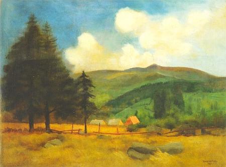 Jiný Kremličkův obraz s názvem Šumavská krajina pochází z roku 1925