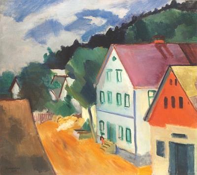 Obraz význačného českého malíře Rudolfa Kremličky (1886-1932), zemřelého rok před nástupem národního socialismu vsousedním Německu a narozením Swihotovým, zachycuje České Žleby ještě v zářivých barvách smraky na obzoru
