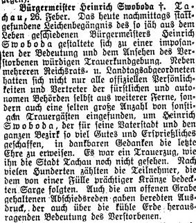 Zpráva o jeho pohřbu v plzeňském německém listu