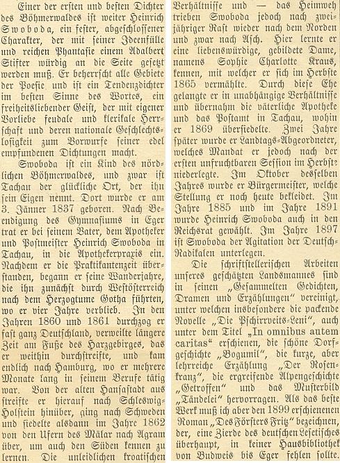 """Pasáž o něm v práci o """"šumavských spisovatelích současnosti"""" od Wilibalda Böhma ho vyzdvihuje jako jednoho """"z prvých a nejlepších"""""""