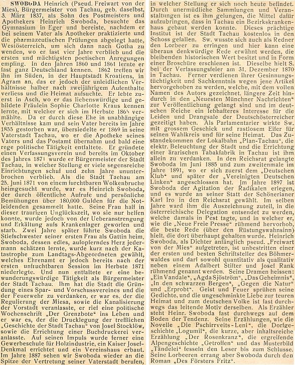 Titulní list (1906) bio-bibliografického slovníku německých umělců a spisovatelů Rakouska-Uherska a jeho heslo v něm