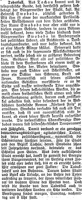 Nekrolog v plzeňském německém listu