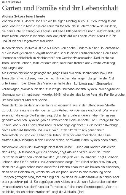 Článek k jejím devadesátinám v listě Aupsburger Allgemeine