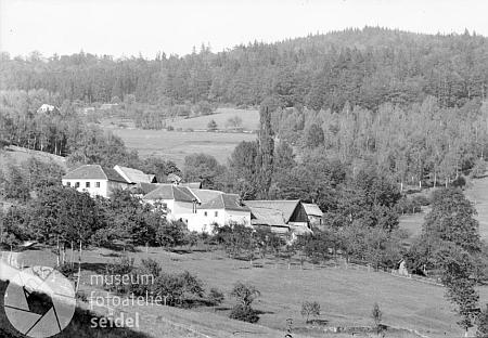 Její rodný Hejdlov na svazích hory Kleťna Seidelově pohlednici...