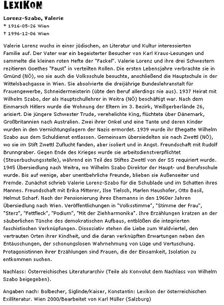 Medailon jeho ženy Valerie Lorenz-Szaboové, jejíž židovský původ (mnozí z jejích blízkých zahynuli v nacistických koncentračních táborech) a propuštění mužovo ze školní služby vedly k přesídlení do Zwettlu, kde našli útočiště po dobu války ve zdejším klášteře - mezi jejími poválečnými přáteli se objevuje v textu i jméno Ilse Tielschové