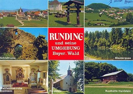 Pohlednice z Rundingu, na nichž sama označila dům, ve kterém žila (na horní je zachycen i památný Haidstein)