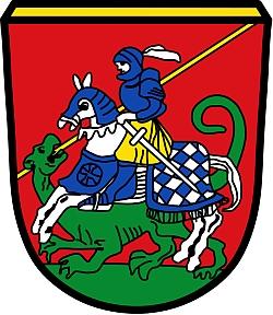 Znak bavorského města Bad Aibling, kde zemřel a kde je i pochován