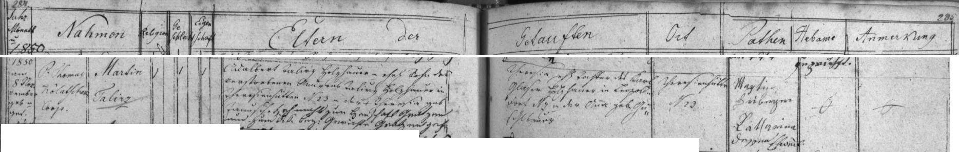 Záznam o narození jeho děda Martina Talirze dne 8. listopadu roku 1850 ve dnes zcela zaniklé Terčí Huti, z něhož vysvítá, že byl synem Vojtěcha Talíře a vnukem Onřeje Talíře, psaných tak kdysi česky ve velešínské matrice