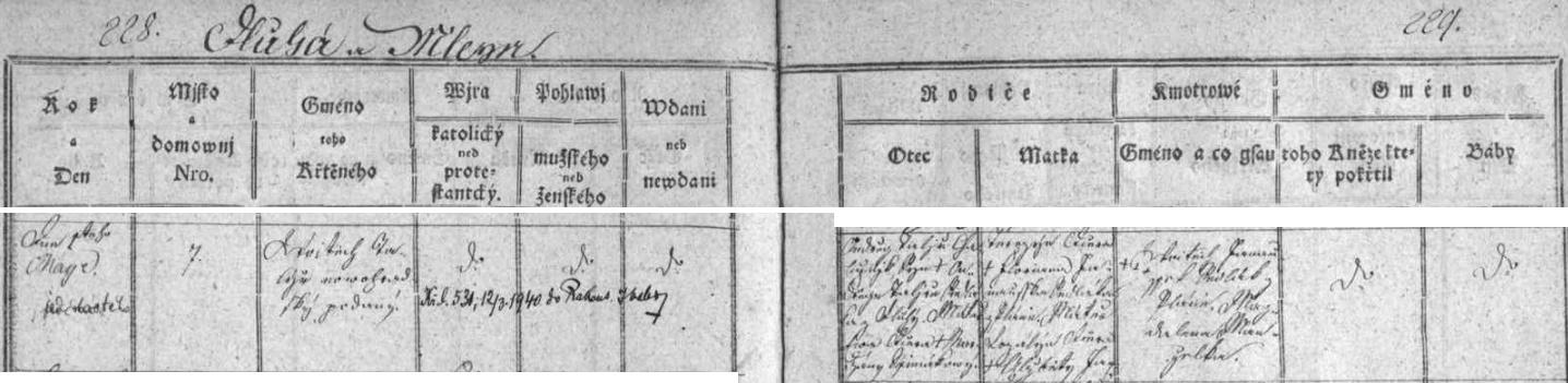 Zápis velešínské křestní matriky o narození Vojtěcha Talíře roku 1811 Ondřeji a Terezii Talířovým z Dluhé (aMlejna), novohradským poddaným