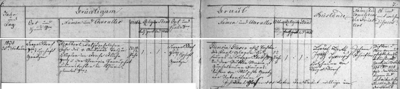 Oddací matrika farní obce Terčí Ves (dnes Pohorská Ves) takto zaznamenává svatbu Adalbeta Talíře, syna Ondřeje aTerezie Talířových z Dluhé, s Theresií Glaserovou v Leopoldově 25. února roku 1835