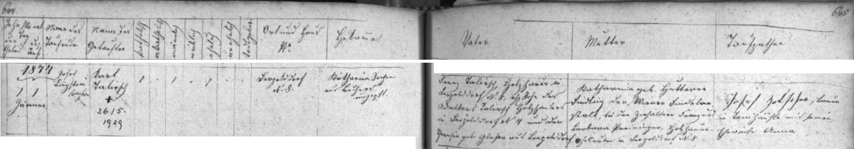 Záznam křestní matriky farní obce Terčí Ves o narození (a také s přípisem o datu úmrtí) Karla Talirsche vLeopoldově čp. 8 dne 1. ledna roku 1874