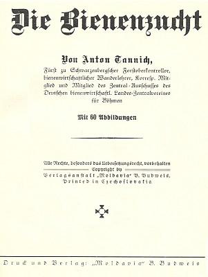 Obálka (1937) a titulní list knihy o včelařství, vydané v Českých Budějovicích