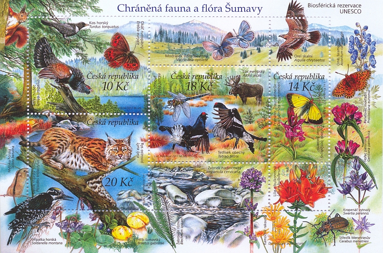 Chráněná fauna a flóra Šumavy jako biosférické rezervace UNESCO na českých poštovních známkách