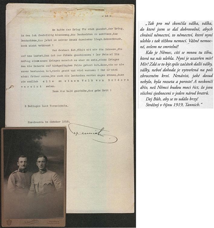 Závěr jeho vzpomínek z první světové války s českým překladem z archivního sborníku (2018), vlastnoručním podpisem a snímkem bratří Antona a Karla Tannicha