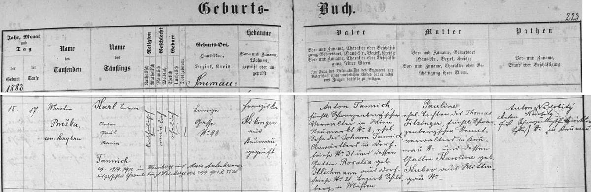 """Karl Boromäus Anton Paul Maria Tannich se narodil podle záznamu v českokrumlovské matrice ve zdejší Dlouhé ulici čp. 98 otci Antonu Tannichovi (děd Johann z otcovy strany byl stejně jako jeho žena Rosalia pobytem v Březné /Dorffriese či Friesedorf/, okres Šildberk /dnes Štíty/ na Moravě) a matce Paulině, dceři Thomase Fitzingera ajeho ženy Karoliny, roz. """"Kubov"""" z Třeboně - přípis pod jménem novorozencovým zpravuje nás o jeho pozdější svatbě dne 19. září roku 1912 na Královských Vinohradech s Marií Aschenbrennerovou"""