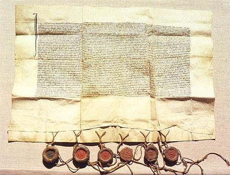 Vdova po Joštovi z Rožmberka Anežka z Wallsee a manželka Jana z Rožmberka Alžběta ustavují touto listinou z26.června 1380 při mariánském oltáři v kostele sv. Víta českého kazatele a zakládají pro něho knihovnu