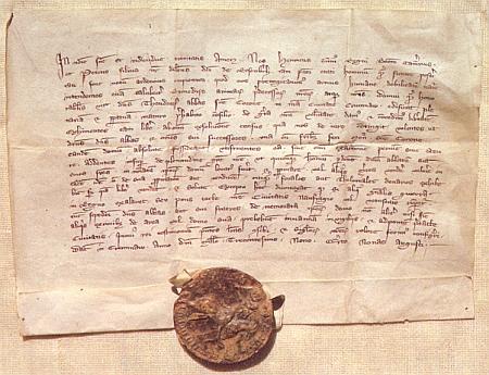 V jednom z jeho textů zmíněná listina Jindřicha z Rožmberka sdatem 2. srpna 1309, kterou osvobozuje dům zlatokorunského kláštera ve městě Českém Krumlově ode všech poplatků