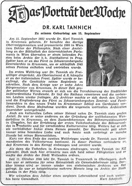Karl (nikoli Kurt, jak mylně uvedeno) Schefczik napsal kTannichovým sedmdesátinám medailon, zveřejněný v září 1953 na stránkách ústředního listu vyhnaných krajanů