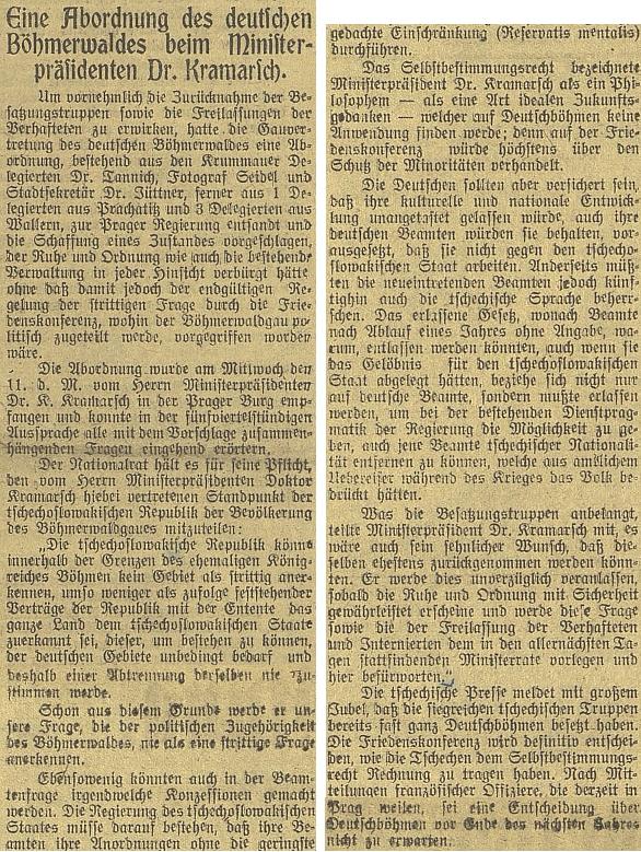 """Článek Budweiser Zeitung z 20. prosince roku 1918 o přijetí delegace """"župního zastoupení německé Šumavy"""", vníž byl vedle Tannicha i fotograf Josef Seidel, u předsedy vlády Kramáře"""