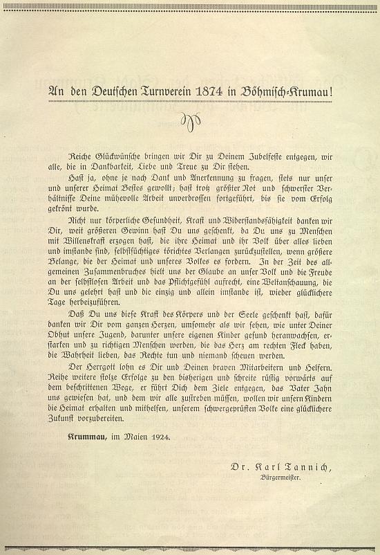 Tannichův pozdrav českokrumlovskému Turnvereinu ve sborníku k 50. jubileu jeho založení