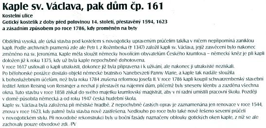 O někdejší kapli sv. Václava, pozdějším domě čp. 161 v Českém Krumlově