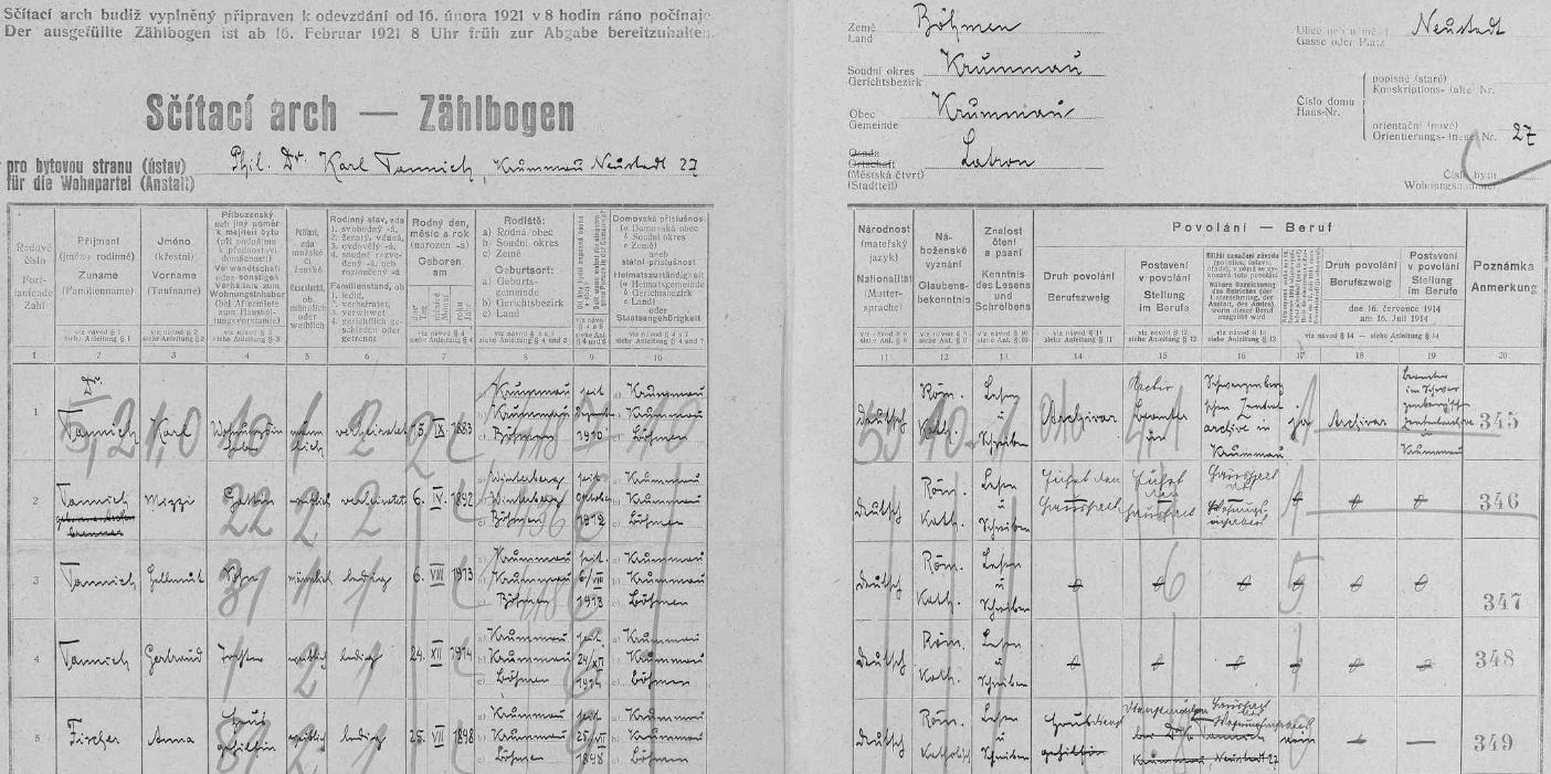 Arch sčítání lidu z roku 1921 pro dům v českokrumlovské ulici Nové město (Neustadt) čp. 27, kde žil se svou ženou Mizzi, tj. Marií (* 6. dubna 1892 ve Vimperku), synem Helmutem (*6. srpna 1913) a dcerou Gertraud (*24. prosince 1914, tj. na Štědrý den), oběma narozenými jako jejich otec v Českém Krumlově