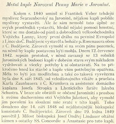 """Historie kaple v Jaroníně, jak ji ve své práci """" Farní osada Brloh"""" z roku 1894 popsal učitel Jan Elias"""