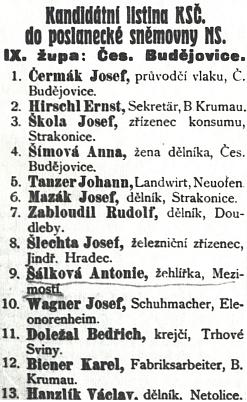 Jeho jméno s německy psanými údaji na kandinátní listině KSČ k volbám do Národního shromáždění v listopadu 1925 (na druhém místě vidíme Ernsta Hirschla)