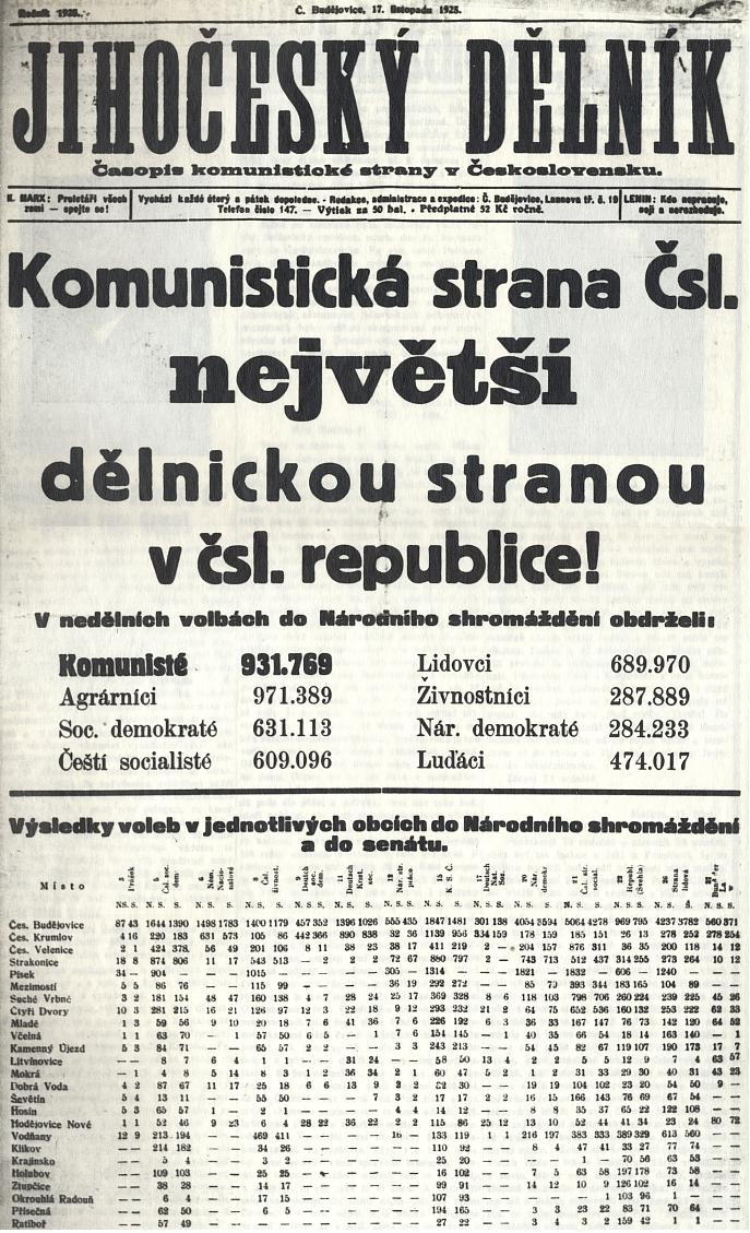 """Výsledky voleb, v nichž kandidoval za KSČ, byly jejím obrovským úspěchem zejména na Tanzerově Českokrumlovsku, jak vysvítá z až děsivých čísel ze stránek stranického tisku - ta vlna nesouhlasu s""""imperialistickou republikou"""" se totiž ani ne deset let nato přelila od Gottwalda k Henleinovi"""