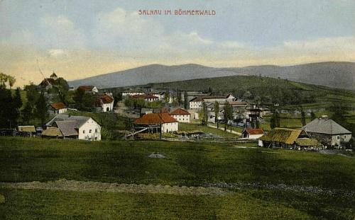 Želnava, kde se roku 1908 oženil, na kolorované pohlednici tamního vydavatelství Sigmund Zalud