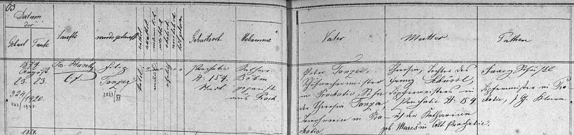 Narodil se a byl pokřtěn jménem Filip podle záznamu prachatické matriky 23. srpna 1874 v domě čp. 154 ševci Peteru Tanzerovi (synu Theresie Tanzerové - otec není uveden) a jeho ženě Theresii, roz. Schüsslové, dceři hrnčíře Franze Schüssla z Prachatic čp. 154 a jeho ženy Kathariny, roz. Marešové, ze Starých Prachatic