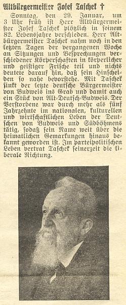 Úvod jeho nekrologu v Budweiser Zeitung ho označuje za liberála