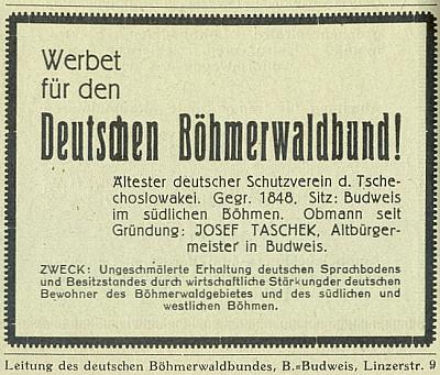 """Tady jsou v inzerátu z roku 1929 hned dvě chyby: DBB nebyl založen 1848, nýbrž 1884 (Taschek, předseda od samého vzniku, se narodil v roce 1857), jeho vedení pak za republiky nesídlilo na """"Linzerstraße 9"""", nýbrž na """"Wilsonplatz 9"""", náměstí, pojmenovaném po americkém prezidentovi v lednu 1919 (předtím se nazývalo """"náměstím císaře Viléma"""", poté za druhé světové války """"náměstím Hermanna Göringa"""")"""