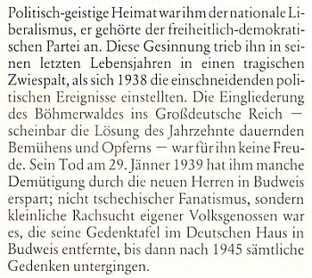 Wilhelm Johannek píše v článku k 50. výročí úmrtí svého praděda o tom, jak nacisté odstranili pamětní desku Taschekovu z Německého domu