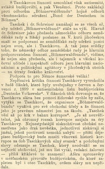 """Jiný výpad Antonína Hubky proti Josefu Taschekovi vjubilejním spise Národní jednoty pošumavské """"Menšinová práce"""" (1904) se rovněž dovolává antisemitských německých článků z budějovického listu """"Deutsche Volkswehr"""""""