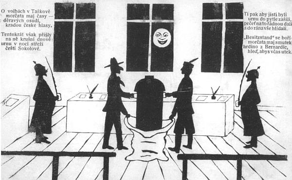 """Karikatura na satirické pohlednici z počátku 20. století zdůrazňuje nos proti českému Sokolovi stojícího Tascheka, """"hrdiny z Bernardic"""", jako jasnou antisemitskou narážku"""