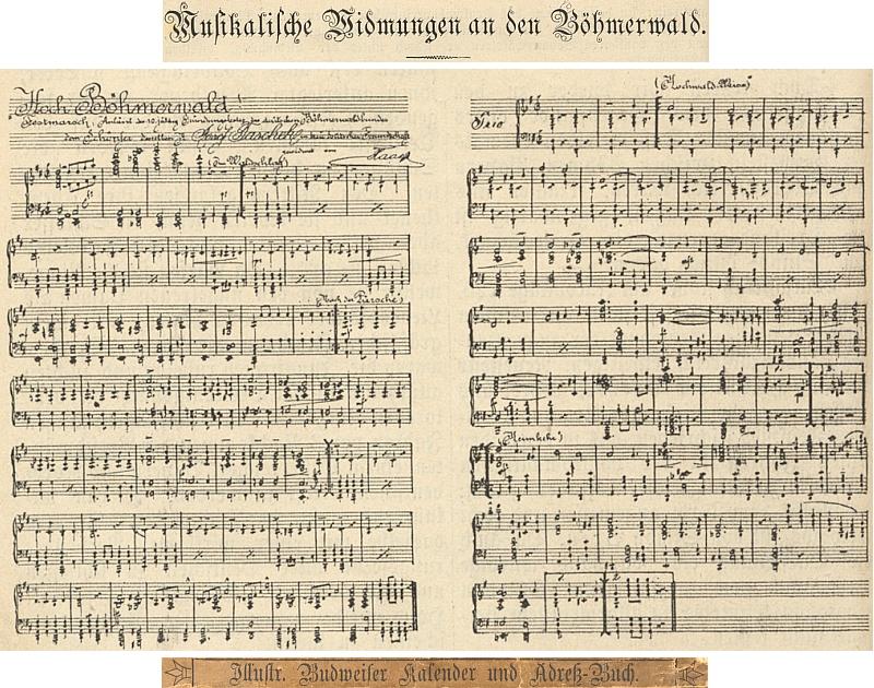 """Slavnostní pochod """"Hoch Böhmerwald"""", věnovaný Josefu Taschekovi u příležitosti 10. výroční založení DBB v notovém záznamu na stránkách """"Ilustrovaného Budějovického kalendáře a adresáře na rok 1895"""""""