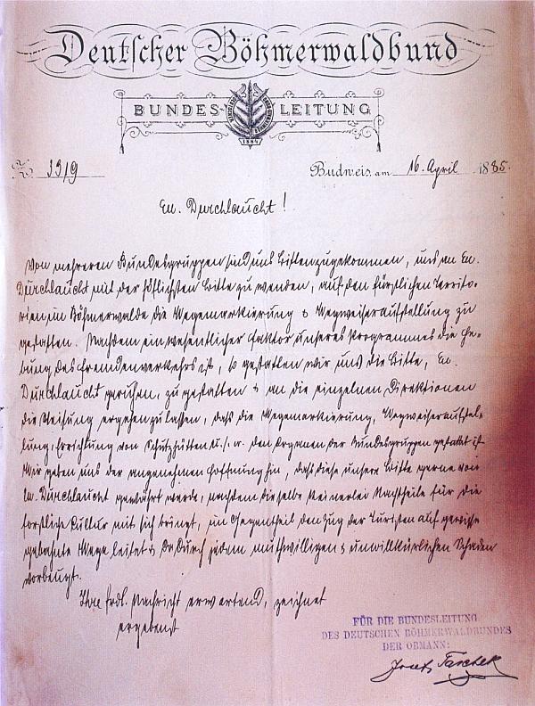 Dopis Josefa Tascheka knížeti Adolfu Josefu zu Schwarzenberg o značení turistických cest na Šumavě z dubna 1885