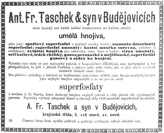 Otcův český inzerát v časopise Rolník na umělá hnojiva firmy Taschek a syn v Krajinské třídě