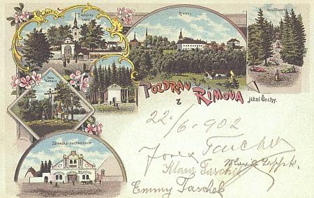 Na české pohlednici ze Římova poslané v roce 1902 můžeme vidět podpisy Josefa Tascheka, jeho ženy Marie, roz. Pastorové, i jejich dcer Emmy a Klary