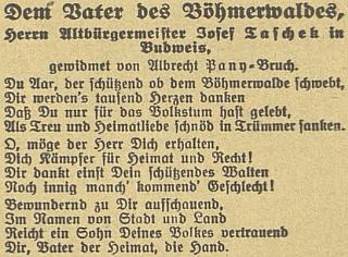 """Báseň věnovaná mu jako """"otci Šumavy"""" na stránkách českobudějovického německého listu"""