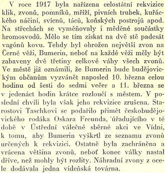 """Kniha Františka Rady """"Když se psalo T.G.M."""" zachycuje i starostovo úsilí o záchranu zvonu Bumerin, určeného za první světové války k nucené rekvizici"""