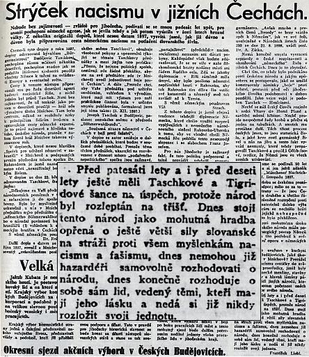 """Lživý článek Jihočeské pravdy z 1. dubna (!) 1948, v jehož závěru se hovoří jedním dechem o tom, jak škodili """"Taschkové a Tigridové"""" českému národu"""