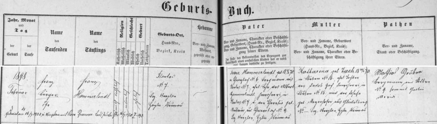 Záznam křestní matriky farní obce Černé v Pošumaví o narození otcově
