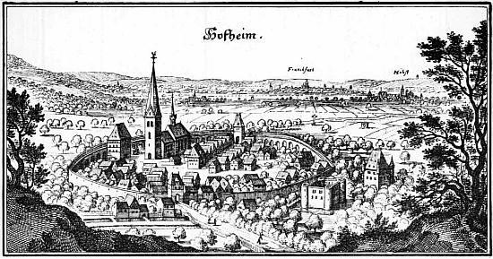 Hesenské město Hofheim am Taunus, kde zemřel, na vyobrazení Matthäuse Meriana z roku 1655