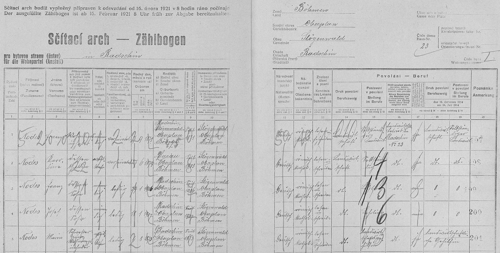 Arch sčítání lidu z roku 1921 pro stavení čp. 23 v Račíně s rodinou Nodesovou
