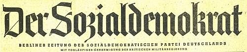 """Záhlaví berlínského listu """"Der Sozialdemokrat"""" z let, kdy jej vedl jako šéfredaktor"""