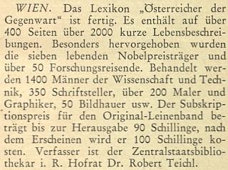 """Dvě zprávy o jeho slovníku """"Rakušané současnosti"""" v krajanském měsíčníku z roku 1951"""
