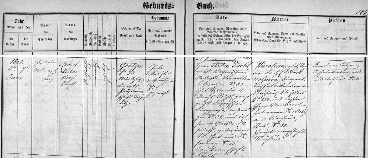 """Záznam v novohradské matrice svědčí o jeho narození dne 4.června 1883 na """"starém hradě"""" a křtu 7. června tři dny nato jmény Robert Ottokar Wenzl - děd z otcovy strany Wenzl Teichl byl rovněž v buquoyských službách jako hraběcí purkrabí, babička z otcovy strany Elisabeth byla z Rožmberka nad Vltavou, děd z matčiny strany Karl Solpera soukeník (Tuchfabrikant) z Jindřichova Hradce měl za ženu Karolinu, roz. Třebickou, rovněž z Jindřichova Hradce"""