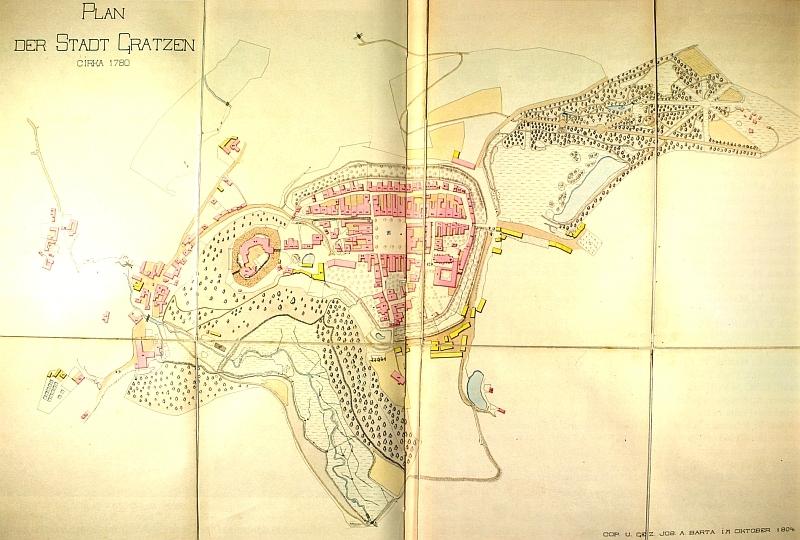 Město Nové Hrady někdy kolem roku 1780, jak je v říjnu 1804 nakreslil Jos. A. Barta -  čp. 33 má starý hrad...
